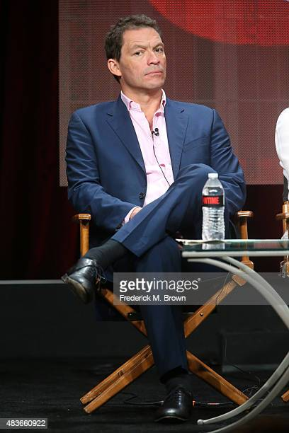 Actor Dominic West speaks onstage during the 'The Affair' panel discussion at the Showtime portion of the 2015 Summer TCA Tour at The Beverly Hilton...