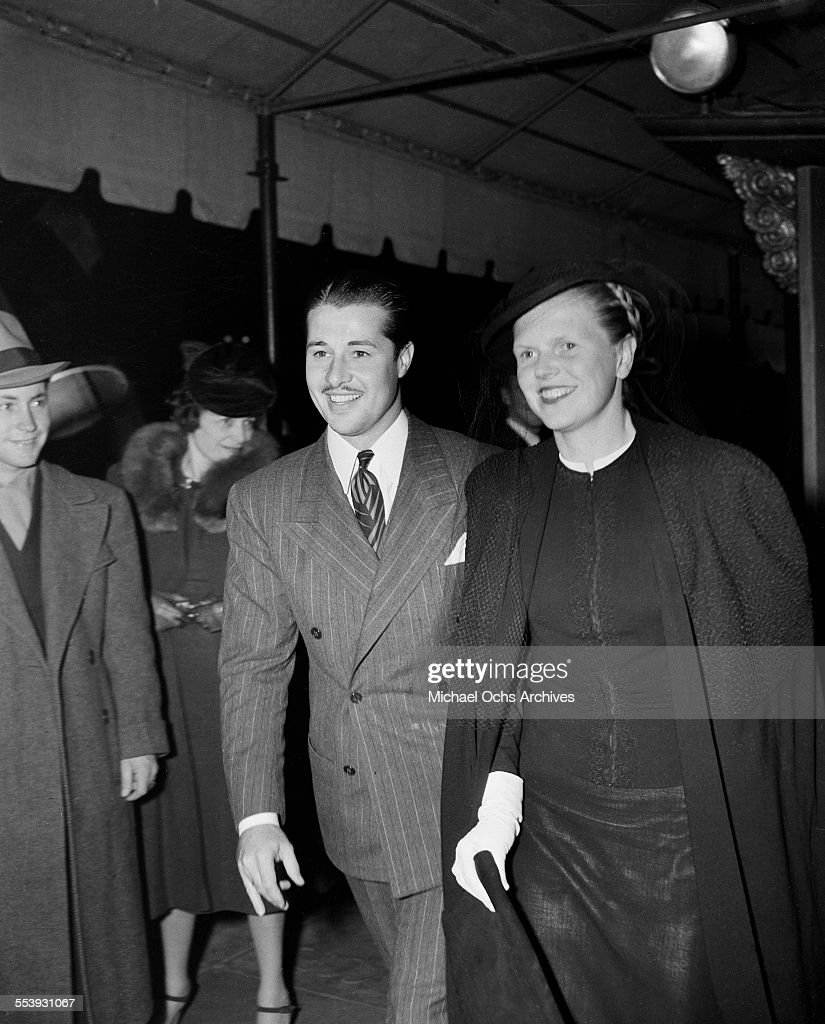 Actor <a gi-track='captionPersonalityLinkClicked' href=/galleries/search?phrase=Don+Ameche&family=editorial&specificpeople=214190 ng-click='$event.stopPropagation()'>Don Ameche</a> and actress Nora Eddington attend an event in Los Angeles, California.