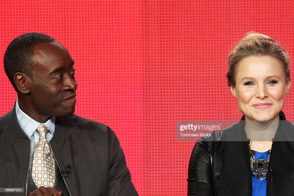 Actor Don Cheadle (L) and actress Kristen Bell of the TV show 'House of Lies' attend the 2013 TCA Winter Press Tour CW/CBS panel held at The Langham Huntington Hotel and Spa on January 12, 2013 in Pasadena, California.