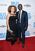 Actor Don Cheadle and Bridgid Coulter arrive at the premiere of Sony Pictures Classics' 'Miles Ahead' at the Writers Guild Theater on March 29 2016...