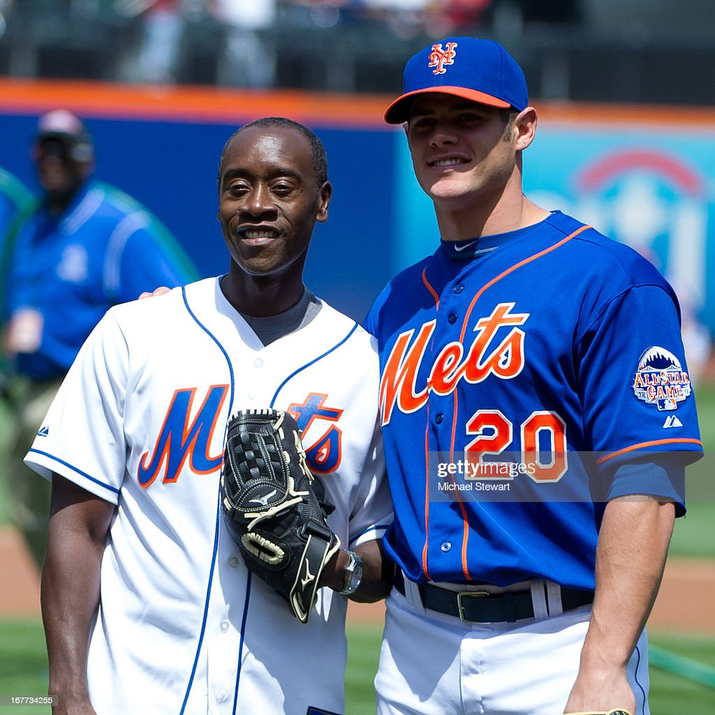 Actor Don Cheadle (L) and New York Mets catcher Anthony Recker attend the Philadelphia Phillies vs New York Mets game at Citi Field on April 28, 2013 in New York City.