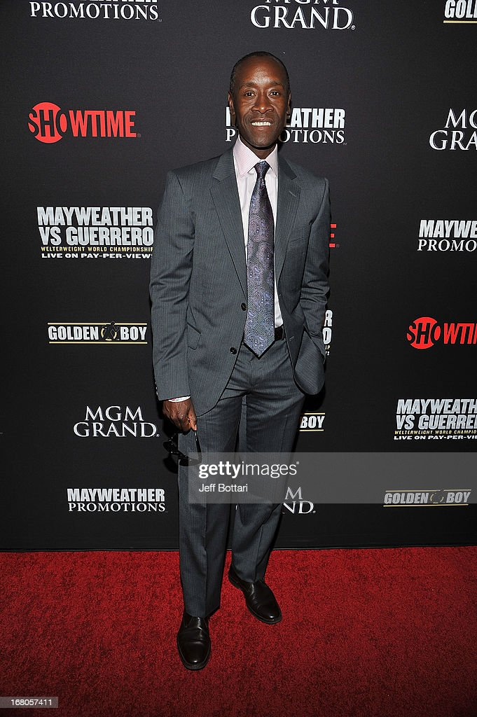 Actor <a gi-track='captionPersonalityLinkClicked' href=/galleries/search?phrase=Don+Cheadle&family=editorial&specificpeople=202096 ng-click='$event.stopPropagation()'>Don Cheadle</a> arrives at a VIP pre-fight party at the WBC welterweight title fight between Floyd Mayweather Jr. and Robert Guerrero at the MGM Grand Hotel/Casino on May 4, 2013 in Las Vegas, Nevada.