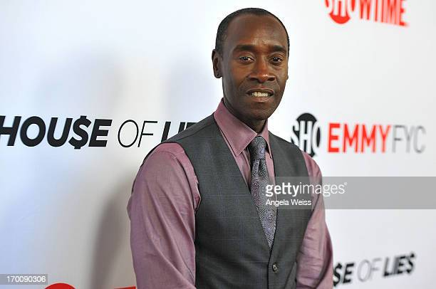 Actor Don Cheadle arrives at an exclusive screening and panel discussion with Showtime's 'Hou$e Of Lie$' at Leonard H Goldenson Theatre on June 6...