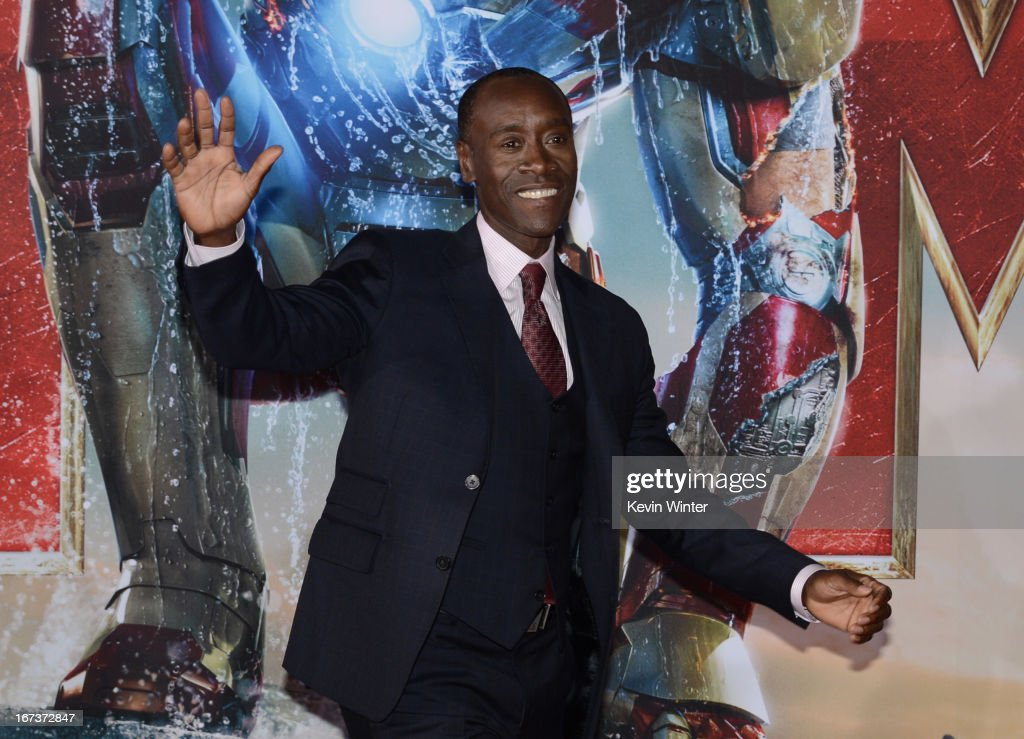 Actor <a gi-track='captionPersonalityLinkClicked' href=/galleries/search?phrase=Don+Cheadle&family=editorial&specificpeople=202096 ng-click='$event.stopPropagation()'>Don Cheadle</a> arrives at the premiere of Walt Disney Pictures' 'Iron Man 3' at the El Capitan Theatre on April 24, 2013 in Hollywood, California.