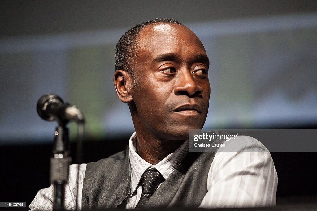 Actor <a gi-track='captionPersonalityLinkClicked' href=/galleries/search?phrase=Don+Cheadle&family=editorial&specificpeople=202096 ng-click='$event.stopPropagation()'>Don Cheadle</a> attends the 'Iron Man 3' panel at San Diego Convention Center on July 14, 2012 in San Diego, California.