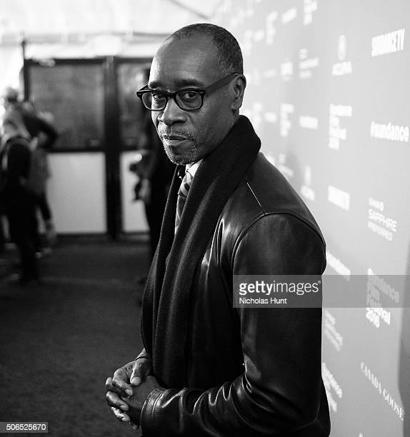Image converted to black white Actor Don Cheadle attends the 'Miles Ahead' Premiere during the 2016 Sundance Film Festival at The Marc Theatre on...