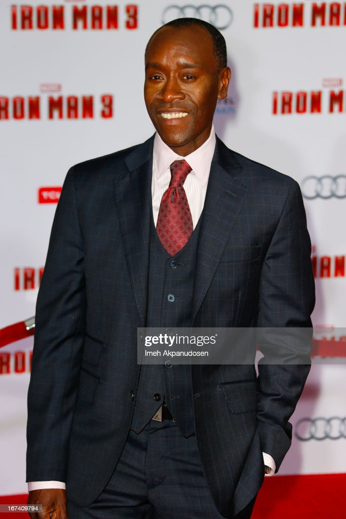 Actor <a gi-track='captionPersonalityLinkClicked' href=/galleries/search?phrase=Don+Cheadle&family=editorial&specificpeople=202096 ng-click='$event.stopPropagation()'>Don Cheadle</a> attends the premiere of Walt Disney Pictures' 'Iron Man 3' at the El Capitan Theatre on April 24, 2013 in Hollywood, California.