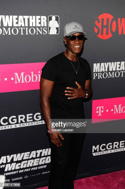 Actor Don Cheadle attends the VIP party before the boxing match between boxer Floyd Mayweather Jr and Conor McGregor at TMobile Arena on August 26...