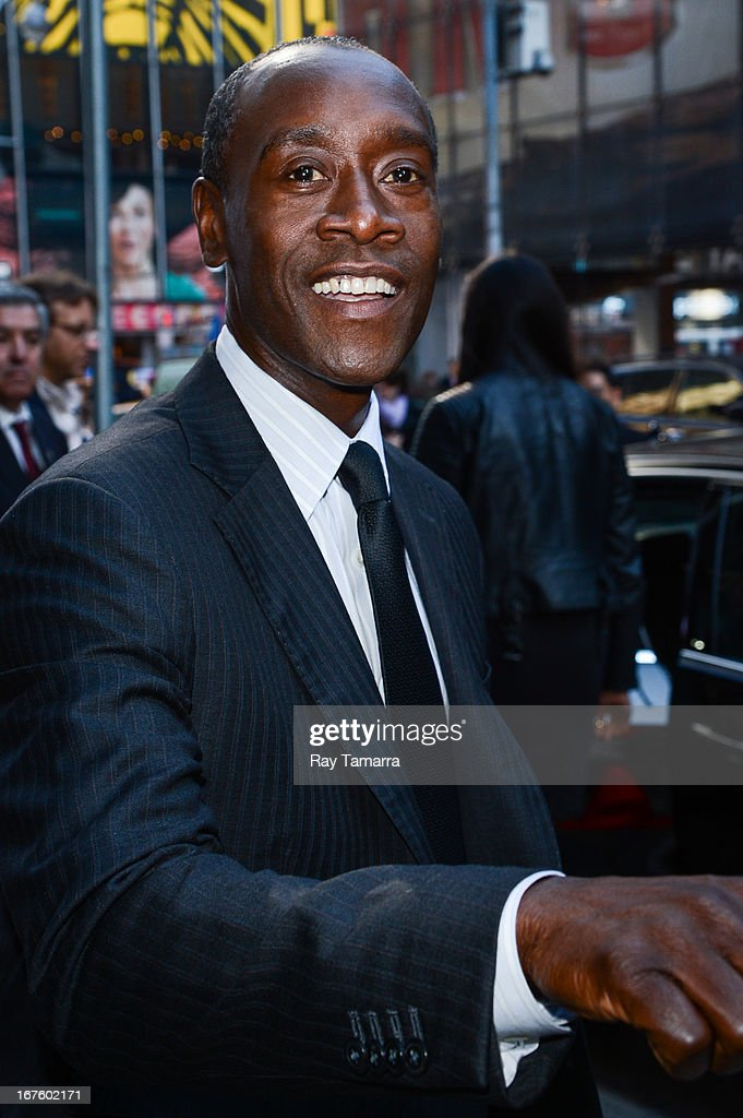 Actor <a gi-track='captionPersonalityLinkClicked' href=/galleries/search?phrase=Don+Cheadle&family=editorial&specificpeople=202096 ng-click='$event.stopPropagation()'>Don Cheadle</a> leaves the 'Good Morning America' taping at the ABC Times Square Studios on April 26, 2013 in New York City.