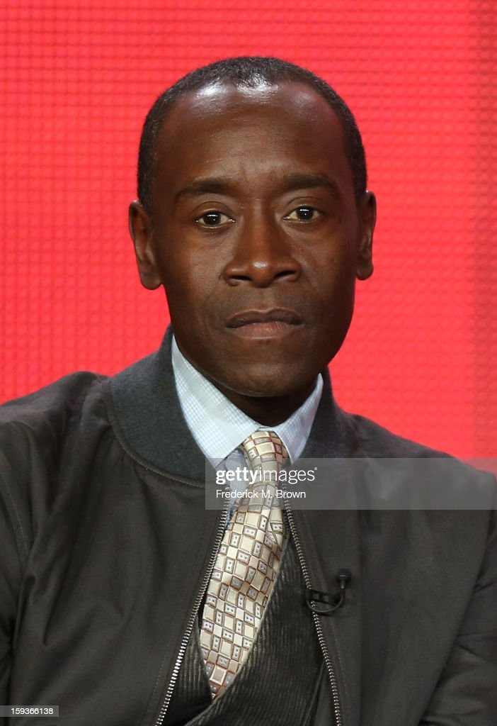 Actor <a gi-track='captionPersonalityLinkClicked' href=/galleries/search?phrase=Don+Cheadle&family=editorial&specificpeople=202096 ng-click='$event.stopPropagation()'>Don Cheadle</a> of 'House of Lies' speaks onstage during the Showtime portion of the 2013 Winter TCA Tour at Langham Hotel on January 12, 2013 in Pasadena, California.