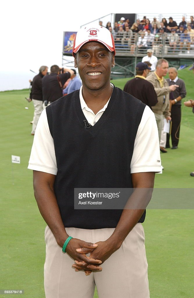 Actor Don Cheadle participates in the putting challenge at the Michael Douglas Celebrity Golf Tournament at Trump National Golf Club in Rancho Palos...