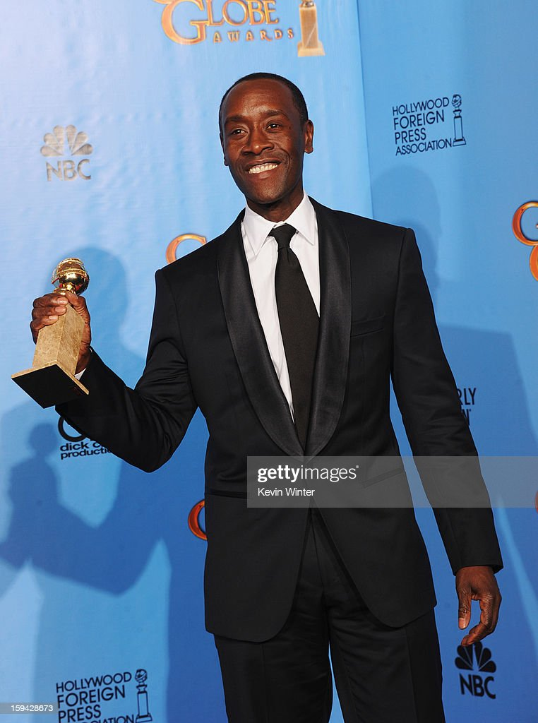 Actor Don Cheadle, winner of Best Actor in a Television Series (Musical or Comedy) for 'House of Lies,' poses in the press room during the 70th Annual Golden Globe Awards held at The Beverly Hilton Hotel on January 13, 2013 in Beverly Hills, California.