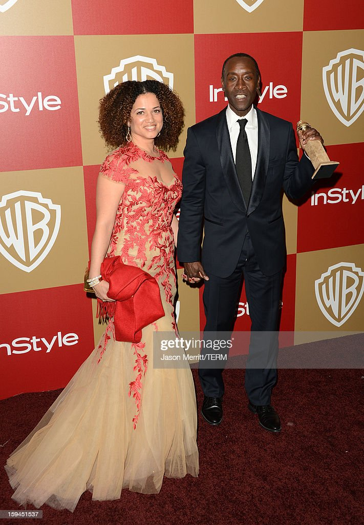 Actor Don Cheadle (R), winner of Best Actor in a Television Series (Musical or Comedy) for 'House of Lies,' and guest attend the 14th Annual Warner Bros. And InStyle Golden Globe Awards After Party held at the Oasis Courtyard at the Beverly Hilton Hotel on January 13, 2013 in Beverly Hills, California.