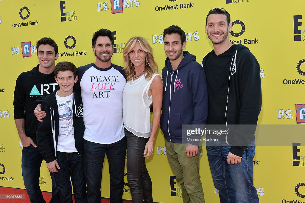 Actor Don Diamont actress Cindy Ambuehl and family attend the PS Arts Express Yourself 2013 event held at Barker Hangar on November 17 2013 in Santa...