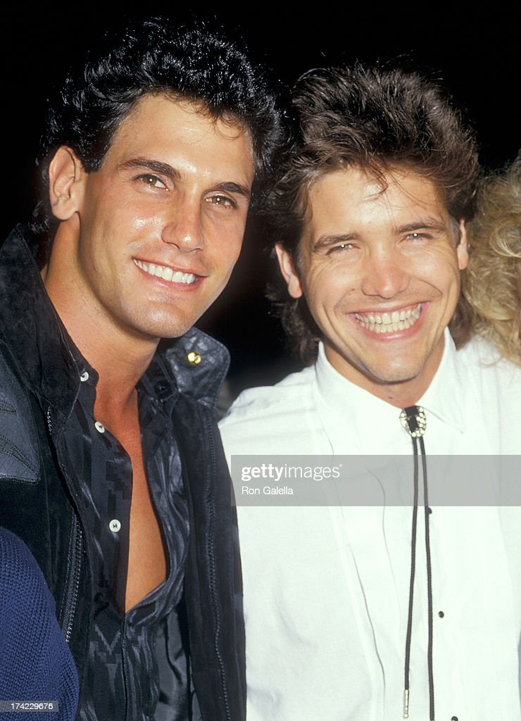 Actor Don Diamont and actor Michael Damian attend the 'Dragnet' Hollywood Premiere on June 23 1987 at the Pacific's Paramount Theatre in Hollywood...