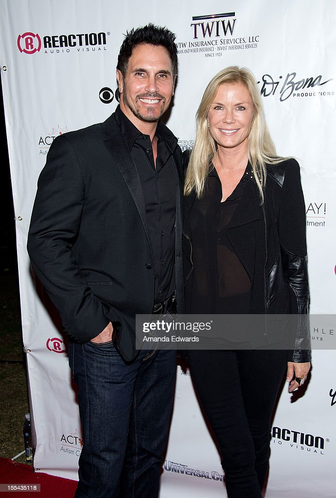 Actor <a gi-track='captionPersonalityLinkClicked' href=/galleries/search?phrase=Don+Diamont&family=editorial&specificpeople=606917 ng-click='$event.stopPropagation()'>Don Diamont</a> (L) and actress <a gi-track='captionPersonalityLinkClicked' href=/galleries/search?phrase=Katherine+Kelly+Lang&family=editorial&specificpeople=663697 ng-click='$event.stopPropagation()'>Katherine Kelly Lang</a> arrive at the ACT Today!'s 7th Annual Denim & Diamonds For Autism Benefit on November 3, 2012 in Malibu, California.