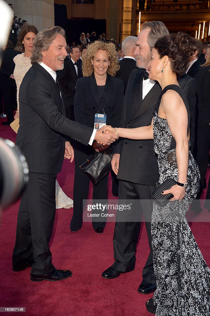 Actor Don Johnson, actor Tommy Lee Jones and his wife Dawn Laurel-Jones arrive at the Oscars at Hollywood & Highland Center on February 24, 2013 in Hollywood, California.