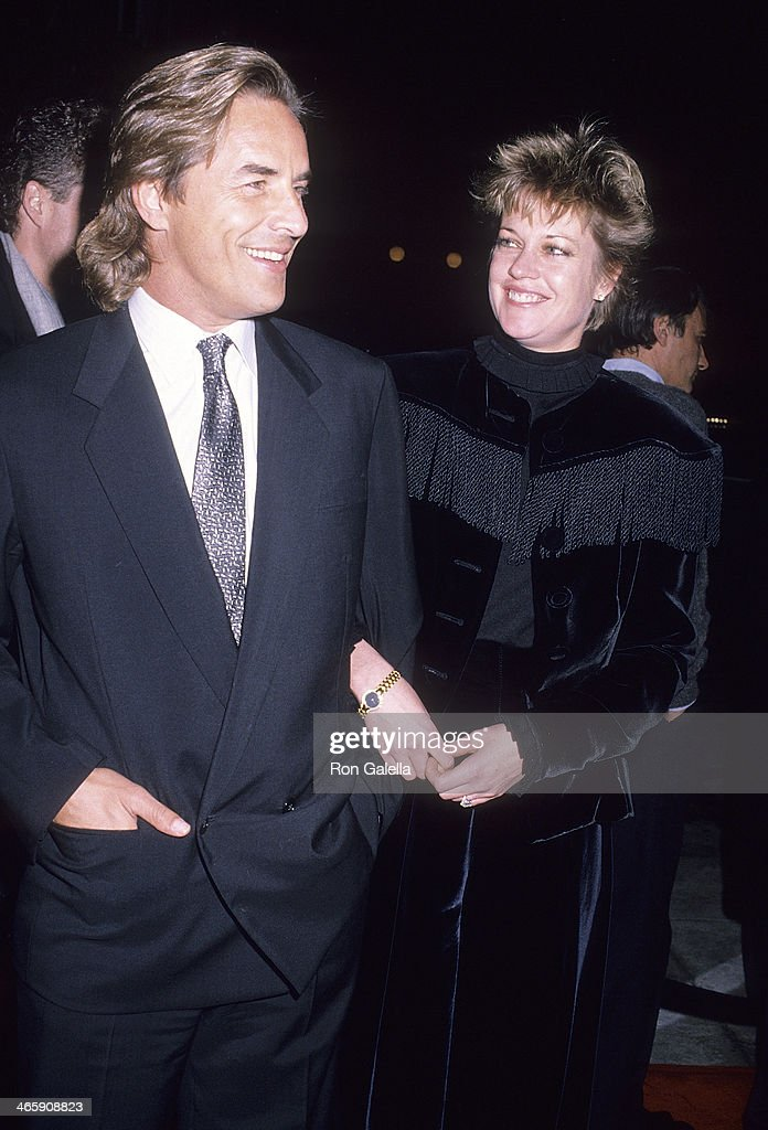Actor Don Johnson and actress Melanie Griffith attend the 'Working Girl' Century City Premiere on December 19 1988 at 20th Century Fox Studios in...