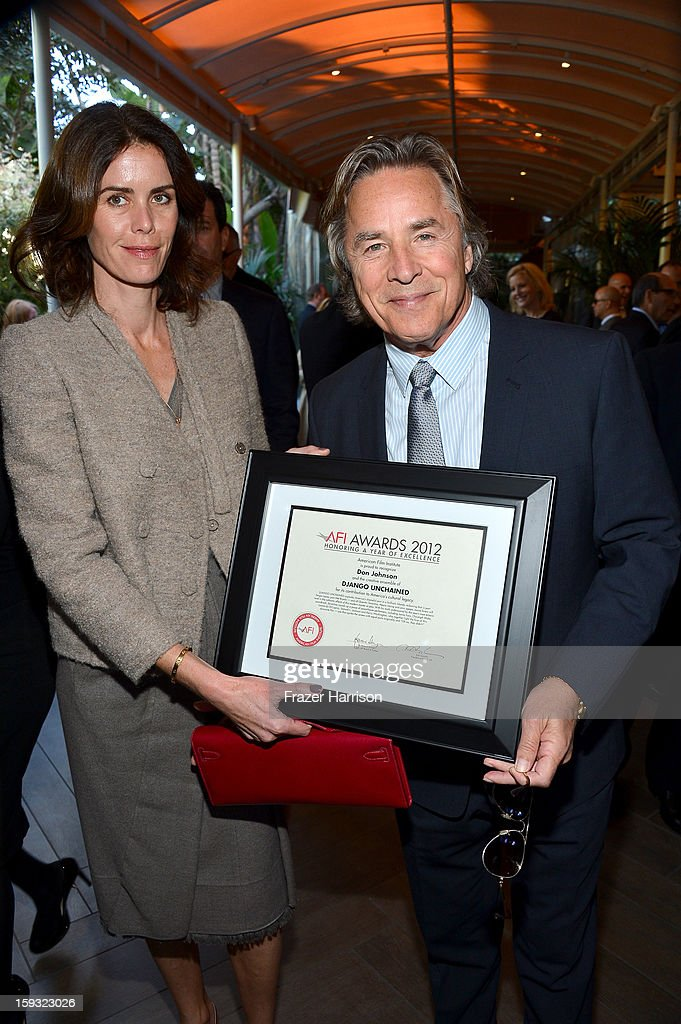 Actor Don Johnson (R) and Kelley Phleger attend the 13th Annual AFI Awards at Four Seasons Los Angeles at Beverly Hills on January 11, 2013 in Beverly Hills, California.