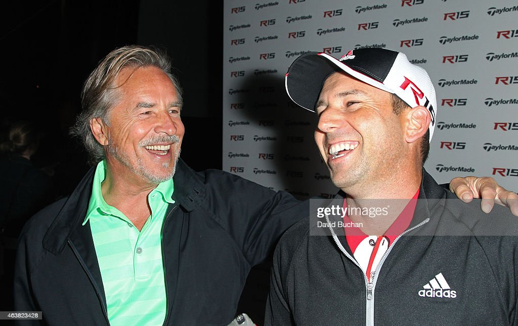 Actor Don Johnson and Pro golfer Sergio Garcia attend the Northern Trust Open TaylorMade Golf first ever drivein movie on the driving range of a PGA...