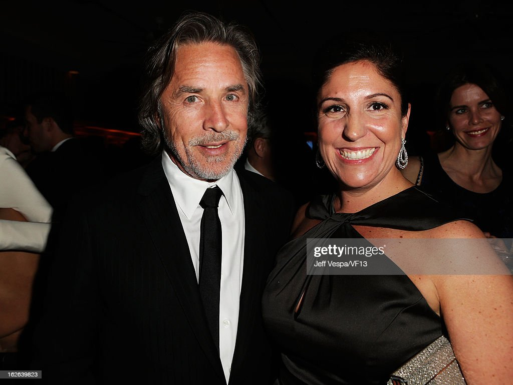 Actor Don Johnson and Producer Pilar Savone attend the 2013 Vanity Fair Oscar Party hosted by Graydon Carter at Sunset Tower on February 24, 2013 in West Hollywood, California.