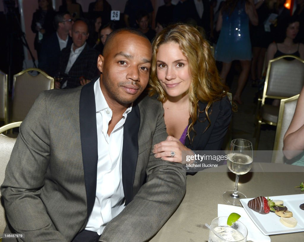 Actor Donald Faison and Cacee Cobb attend the 100th anniversary celebration of the Beverly Hills Hotel & Bungalows supporting the Motion Picture & Television Fund and the American Comedy Fund hosted by Brett Ratner and Warren Beatty at Beverly Hills Hotel on June 16, 2012 in Beverly Hills, California.