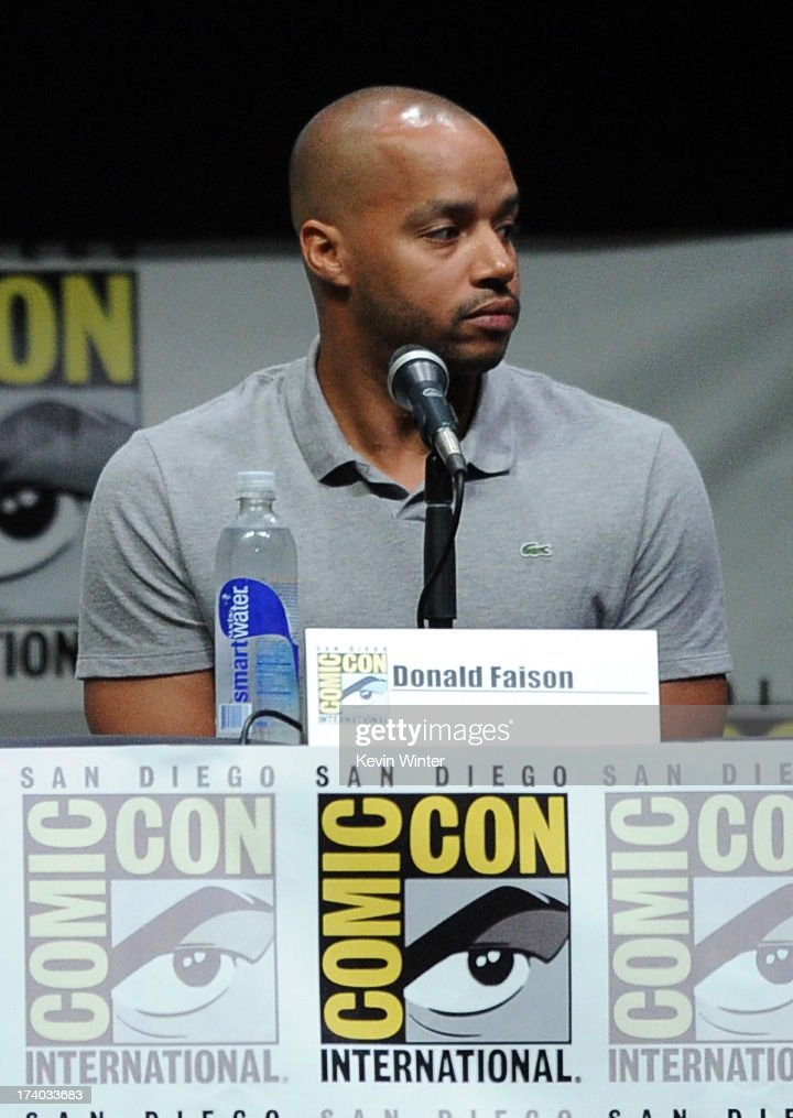 Actor Donald Faison speaks onstage at the 'Kick-Ass 2' and 'Riddick' Panels during Comic-Con International 2013 at San Diego Convention Center on July 19, 2013 in San Diego, California.