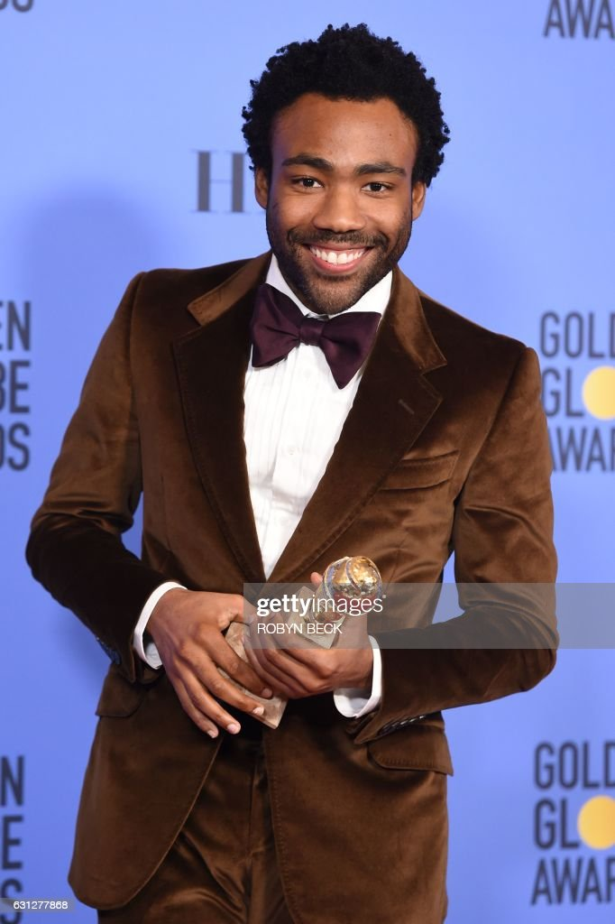 TOPSHOT - Actor Donald Glover poses with the award for Best Actor in a Television Series Comedy or Musical, in the press room at the 74th Annual Golden Globe Awards at The Beverly Hilton Hotel on January 8, 2017 in Beverly Hills, California. / AFP / ROBYN
