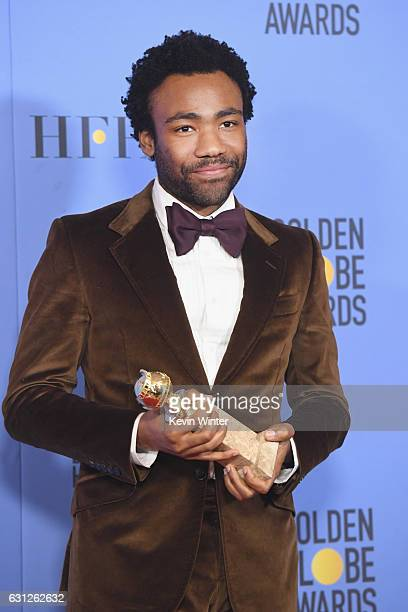 Actor Donald Glover winner of Best Actor in a Television Series Musical or Comedy for 'Atlanta' poses in the press room during the 74th Annual Golden...