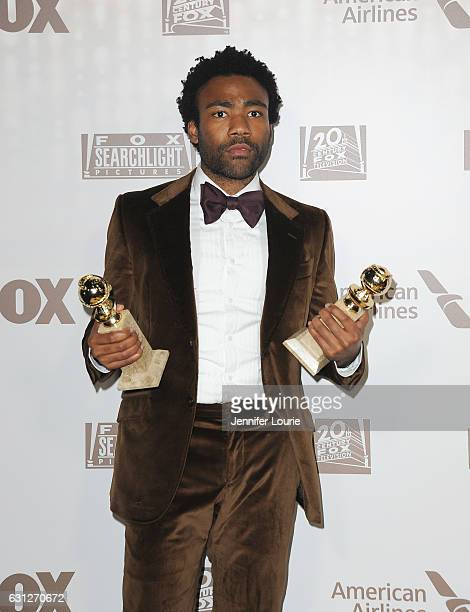 Actor Donald Glover winner of Best Actor in a Television Series Musical or Comedy for 'Atlanta' attends FOX and FX's 2017 Golden Globe Awards after...