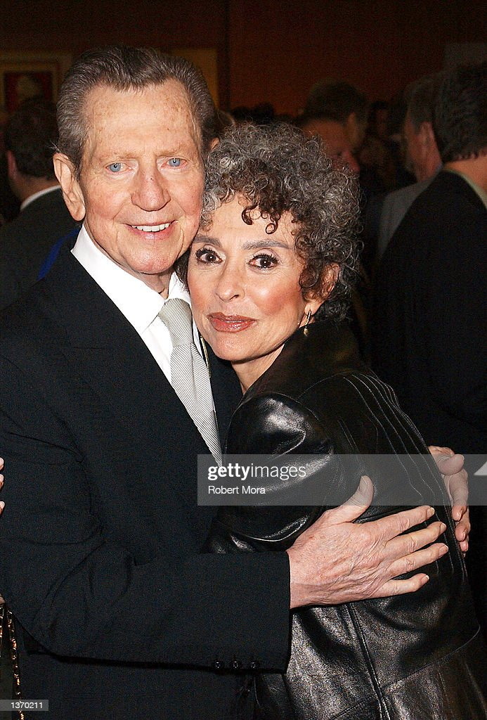 Actor Donald O'Connor, left, and actress Rita Moreno attend the 50th Anniversary screening of 'Singin' in the Rain' at the Academy of Motion Picture Arts and Sciences on September 5, 2002 in Beverly Hills, California.