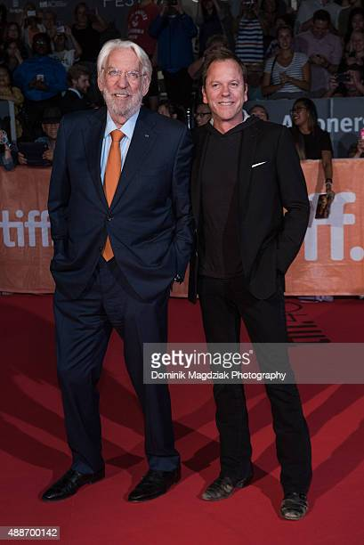 Actor Donald Sutherland and actor Keifer Sutherland attends the 'Forsaken' premiere during the 2015 Toronto International Film Festival at Roy...