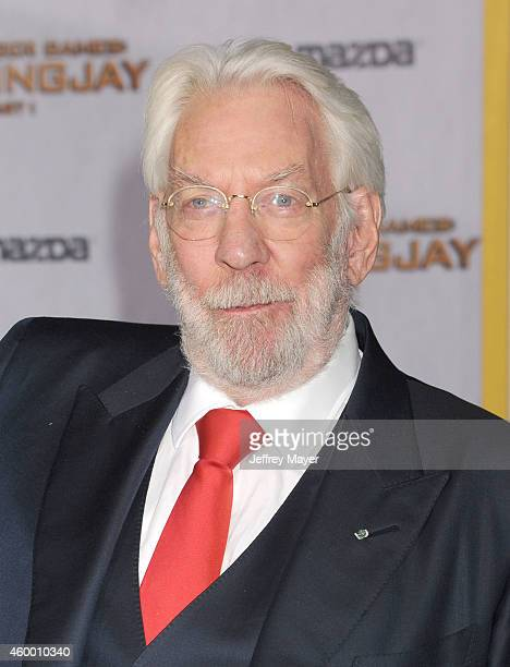 Actor Donald Sutherland arrives at the 'The Hunger Games Mockingjay Part 1' Los Angeles Premiere at Nokia Theatre LA Live on November 17 2014 in Los...