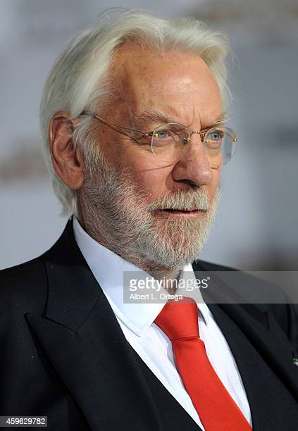 Actor Donald Sutherland arrives for the Premiere Of Lionsgate's 'The Hunger Games Mockingjay Part 1' Arrivals held at Nokia Theatre LA Live on...