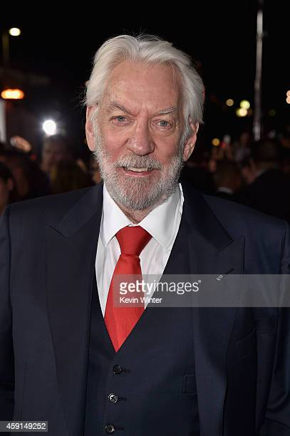 Actor Donald Sutherland attends the premiere of Lionsgate's 'The Hunger Games Mockingjay Part 1' at Nokia Theatre LA Live on November 17 2014 in Los...