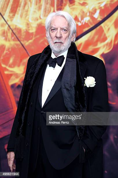 Actor Donald Sutherland attends the world premiere of the film 'The Hunger Games Mockingjay Part 2' at CineStar on November 4 2015 in Berlin Germany