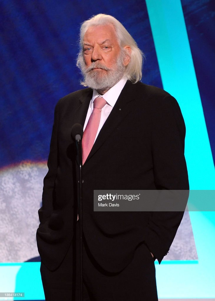Actor Donald Sutherland speaks onstage at the American Giving Awards presented by Chase held at the Dorothy Chandler Pavilion on December 9 2011 in...