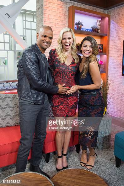 Actor Dondre Whitfield actress/model Brook Bruns and actress/model Ali Landry attend 'Kevin Pollak and Brook Burns visit Hollywood Today Live' at W...