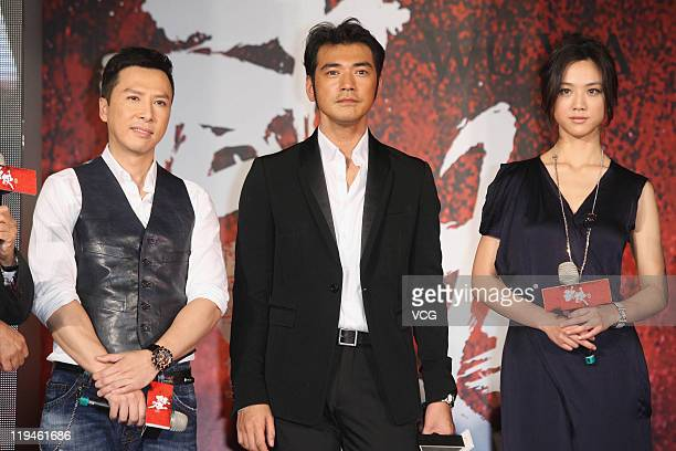 Actor Donnie Yen actor Takeshi Kaneshiro and actress Tang Wei attend 'Wu Xia' movie premiere at Vie Show Cinemas on July 20 2011 in Taipei Taiwan of...