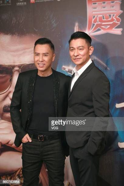 Actor Donnie Yen and actor Andy Lau attend celebration party of film 'Chasing the Dragon' on October 12 2017 in Hong Kong China