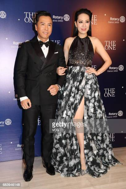 Actor Donnie Yen and his wife Cecilia Wang arrive at the red carpet of The One Hong Kong Humanitarian Annual Award Ceremony on May 16 2017 in Hong...