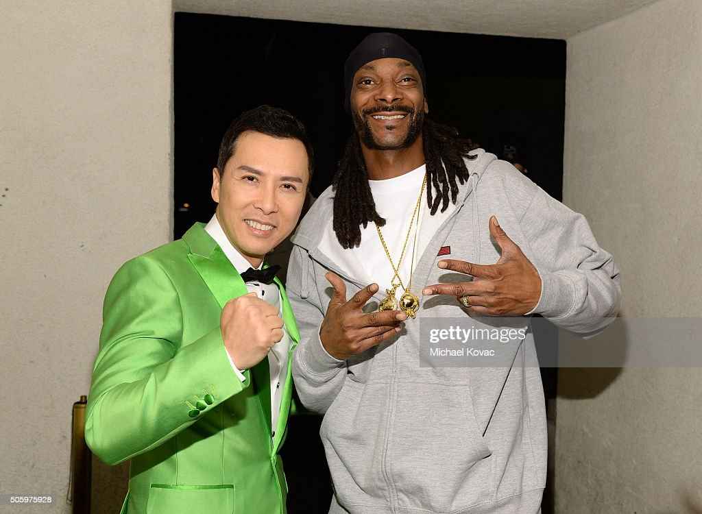 Actor Donnie Yen and Snoop Dogg attend the Los Angeles Premiere of Well Go USA Entertainment's 'IP MAN 3' at The Grove on January 20 2016 in Los...
