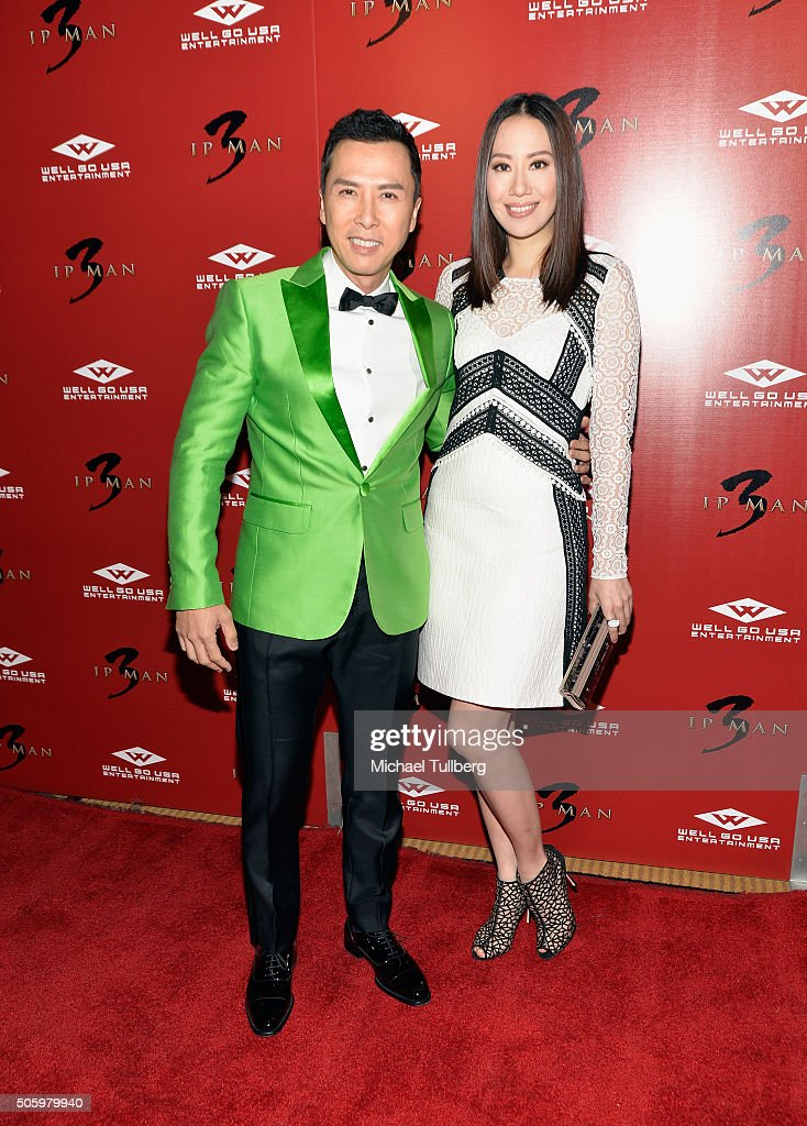 Actor Donnie Yen and wife Cecilia Wang attend the premiere of Well Go USA's 'Ip Man 3' at Pacific Theatres at The Grove on January 20 2016 in Los...