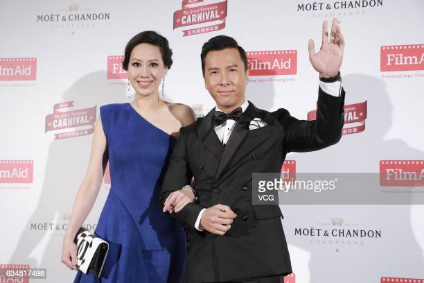 Actor Donnie Yen and wife model Cecilia Cissy Wang attend the 5th Power of Film Gala on February 11 2017 in Hong Kong China