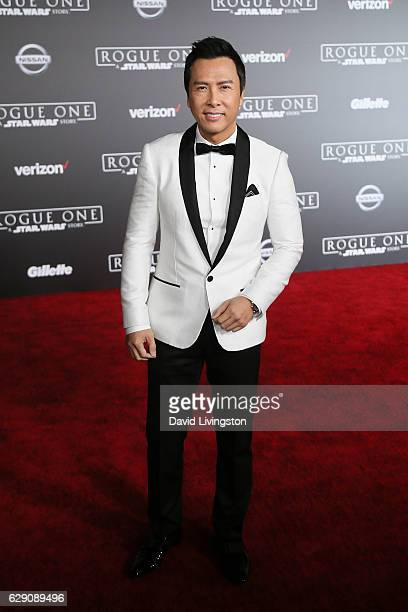 Actor Donnie Yen arrives at the premiere of Walt Disney Pictures and Lucasfilm's 'Rogue One A Star Wars Story' at the Pantages Theatre on December 10...