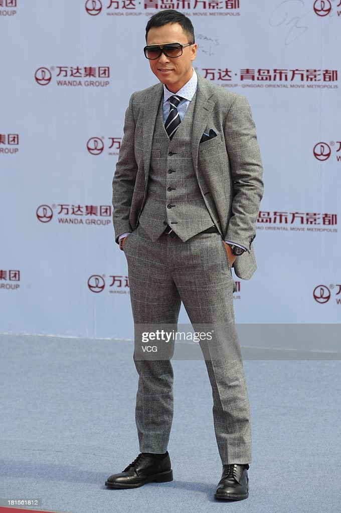 Actor <a gi-track='captionPersonalityLinkClicked' href=/galleries/search?phrase=Donnie+Yen&family=editorial&specificpeople=235559 ng-click='$event.stopPropagation()'>Donnie Yen</a> attends a launching ceremony for the Qingdao Oriental Movie Metropolis on September 22, 2013 in Qingdao, China.