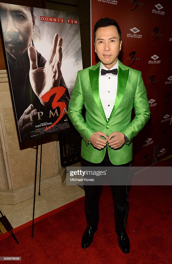 Actor Donnie Yen attends the Los Angeles Premiere of Well Go USA Entertainment's 'IP MAN 3' at The Grove on January 20 2016 in Los Angeles California