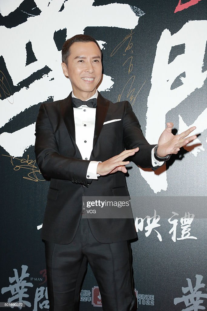 Actor Donnie Yen attends the premiere of Wilson Yip's film 'Ip Man 3' on December 16 2015 in Hong Kong China