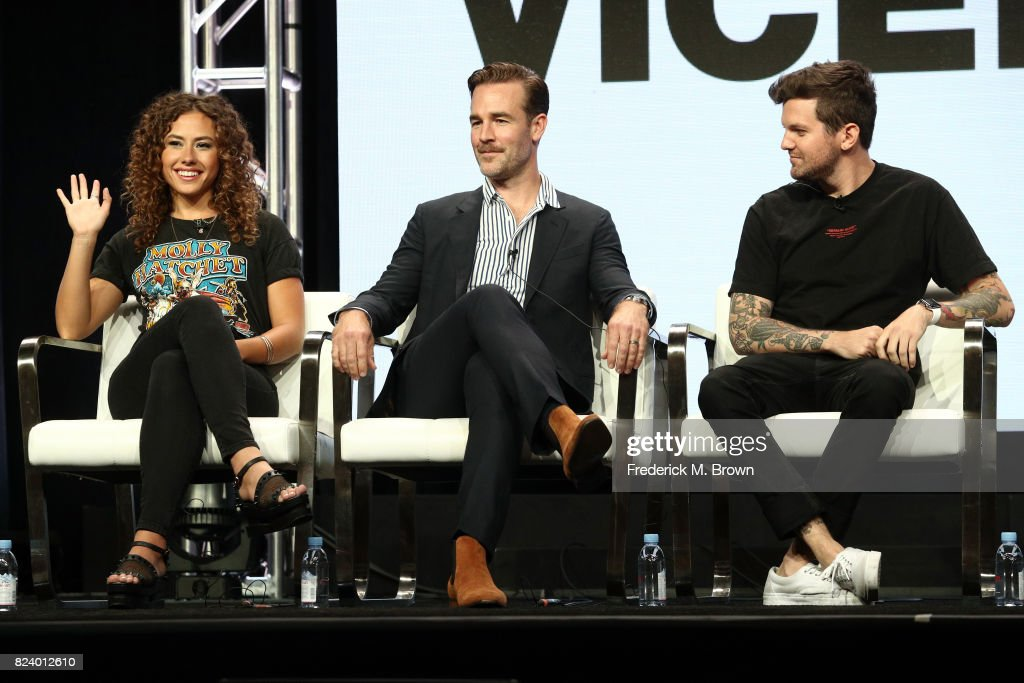 Actor Dora Madison, executive producer/actor James Van Der Beek and DJ Dillon Francis of 'What Would Diplo Do?' speak onstage during the Viceland portion of the 2017 Summer Television Critics Association Press Tour at The Beverly Hilton Hotel on July 28, 2017 in Beverly Hills, California.