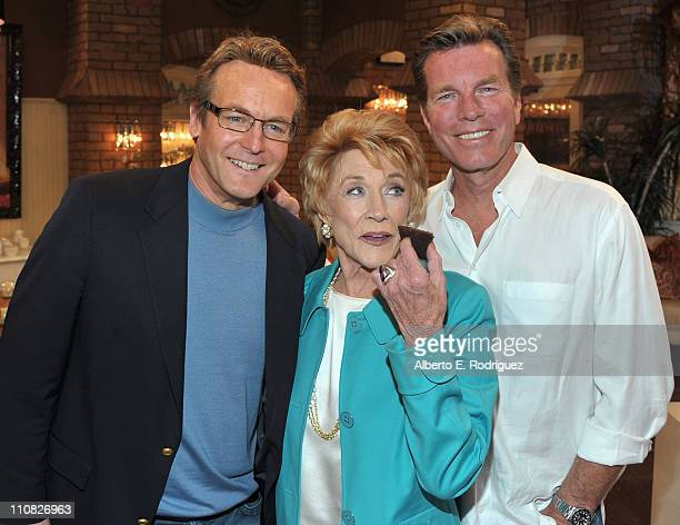 Actor Doug Davidson actress Jeanne Cooper and actor Peter Bergman attend CBS' 'The Young and the Restless' 38th Anniversary cake cutting on March 24...